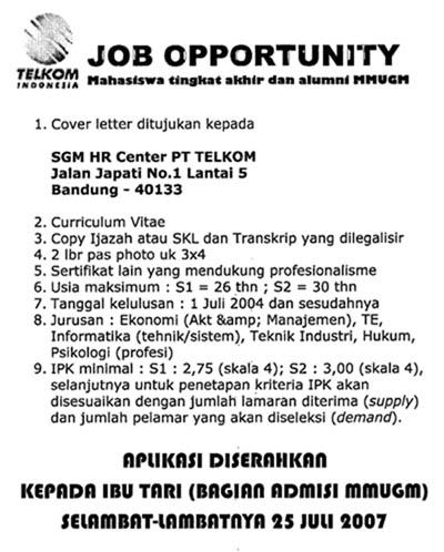 Lowongan Kerja Telkom (25 Juli 2007)